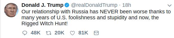 Trump tweet, 15 July 2018