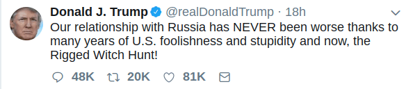 Trump tweet, 15 July 2018