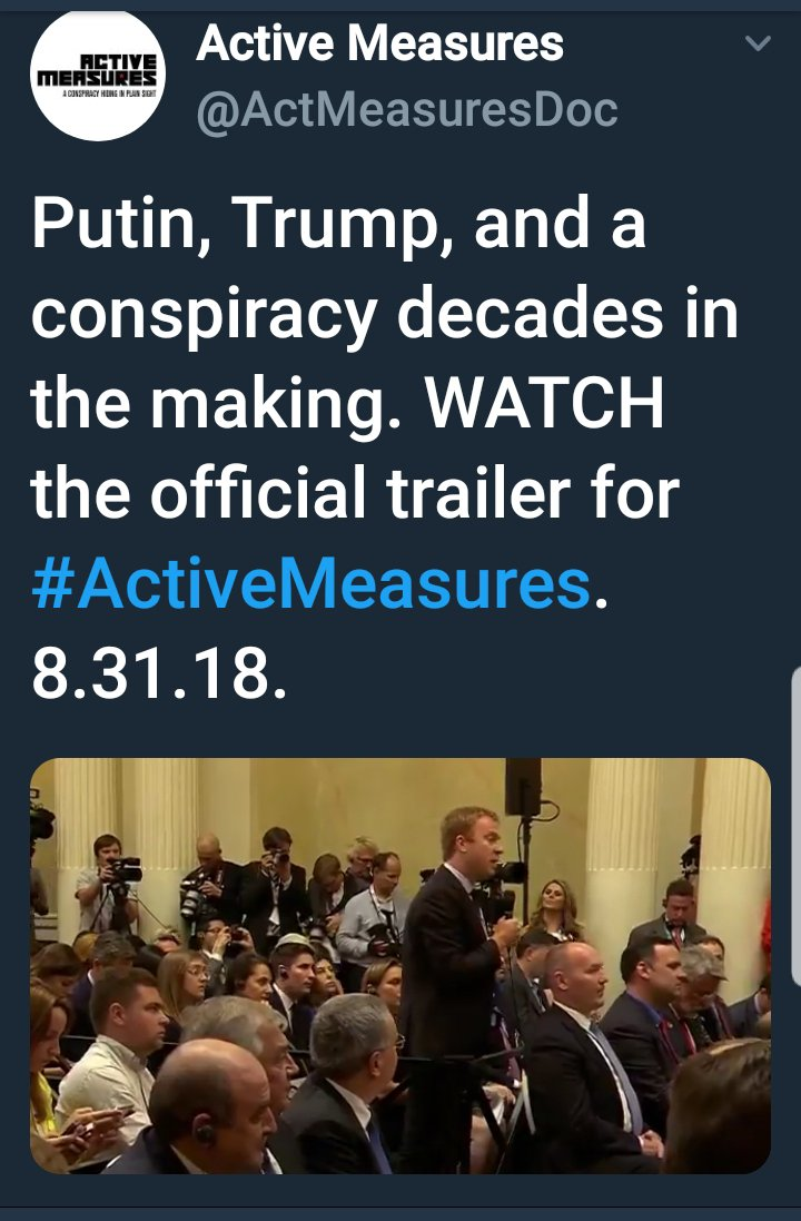 Image to tweet about the documentary Active Measures, with a link to a YouTube video about the documentary.