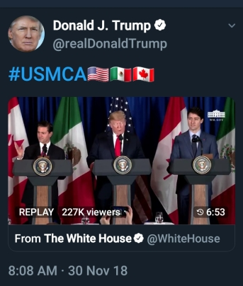 #USMCA Tweet includes a video clip of the announcement about the U.S., Mexico and Canada trade agreement.