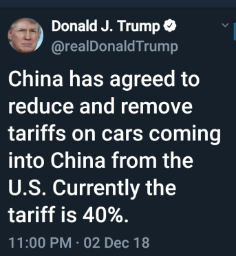 BEGIN QUOTE China has agreed to reduce and remove tariffs on cars coming into China from the U.S. Currently the tariff is 40%. END QUOTE